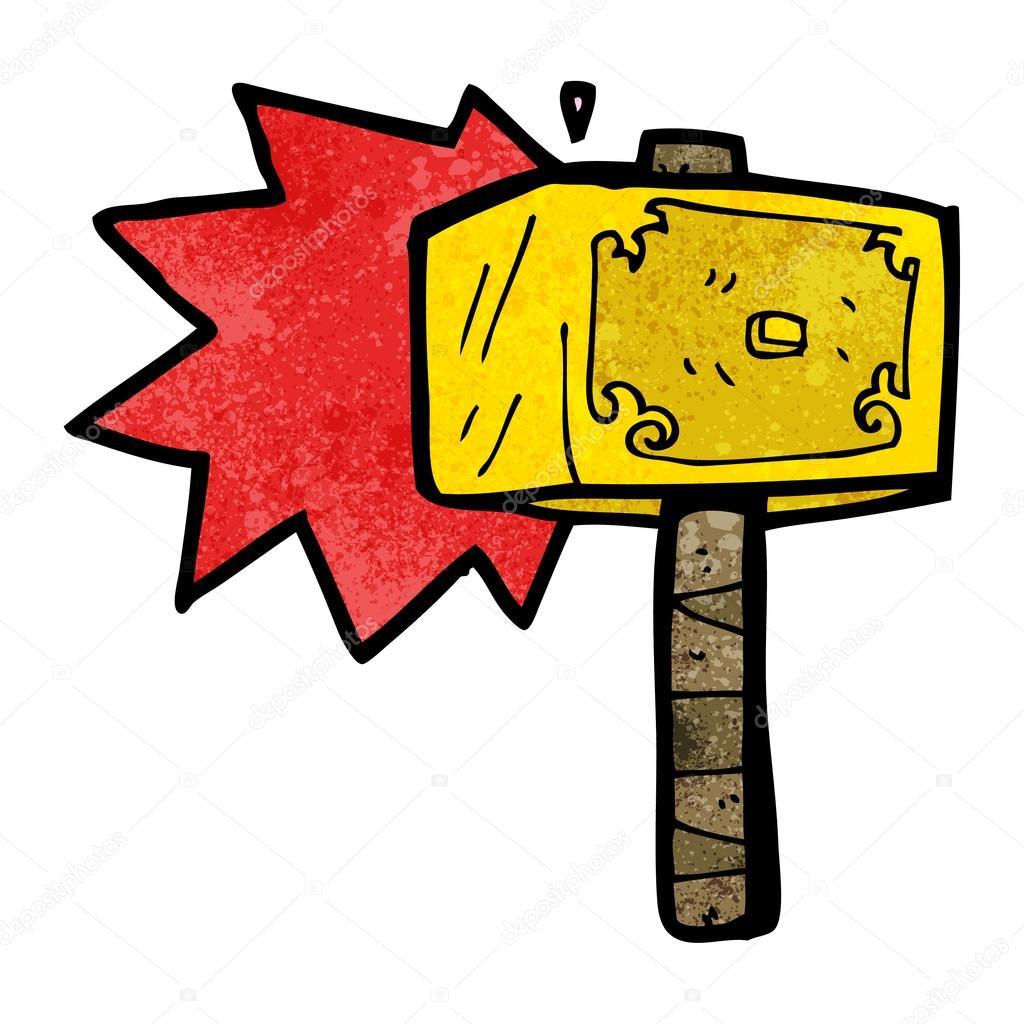 Cartoon Hammer Des Thor Stockvektor Lineartestpilot 21549197