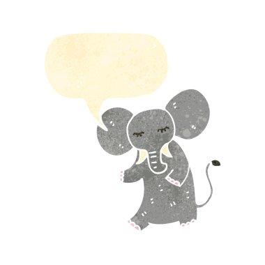 Retro cartoon elephant with speech bubble