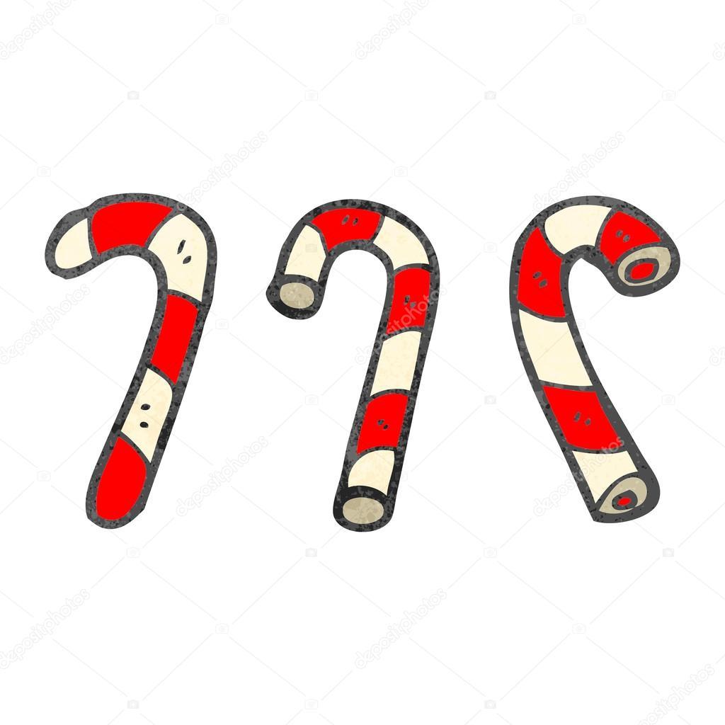 bastones de caramelo de dibujos animados retro u vector de