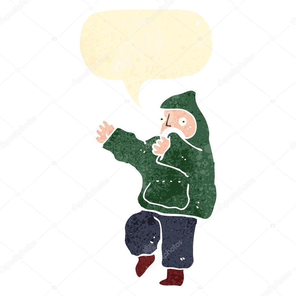Retro Cartoon Dancing Boy In Hooded Sweatshirt Stock Vector