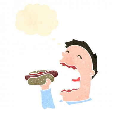 Retro cartoon man eating hotdog