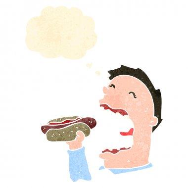 Retro cartoon man eating hotdog stock vector