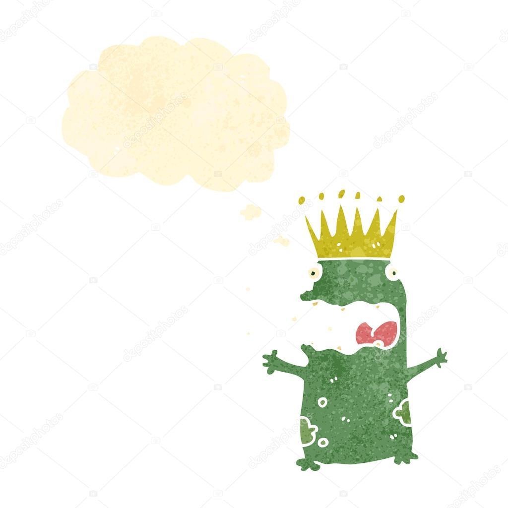 Principe ranocchio cartoon retrò con bolla di pensiero u2014 vettoriali