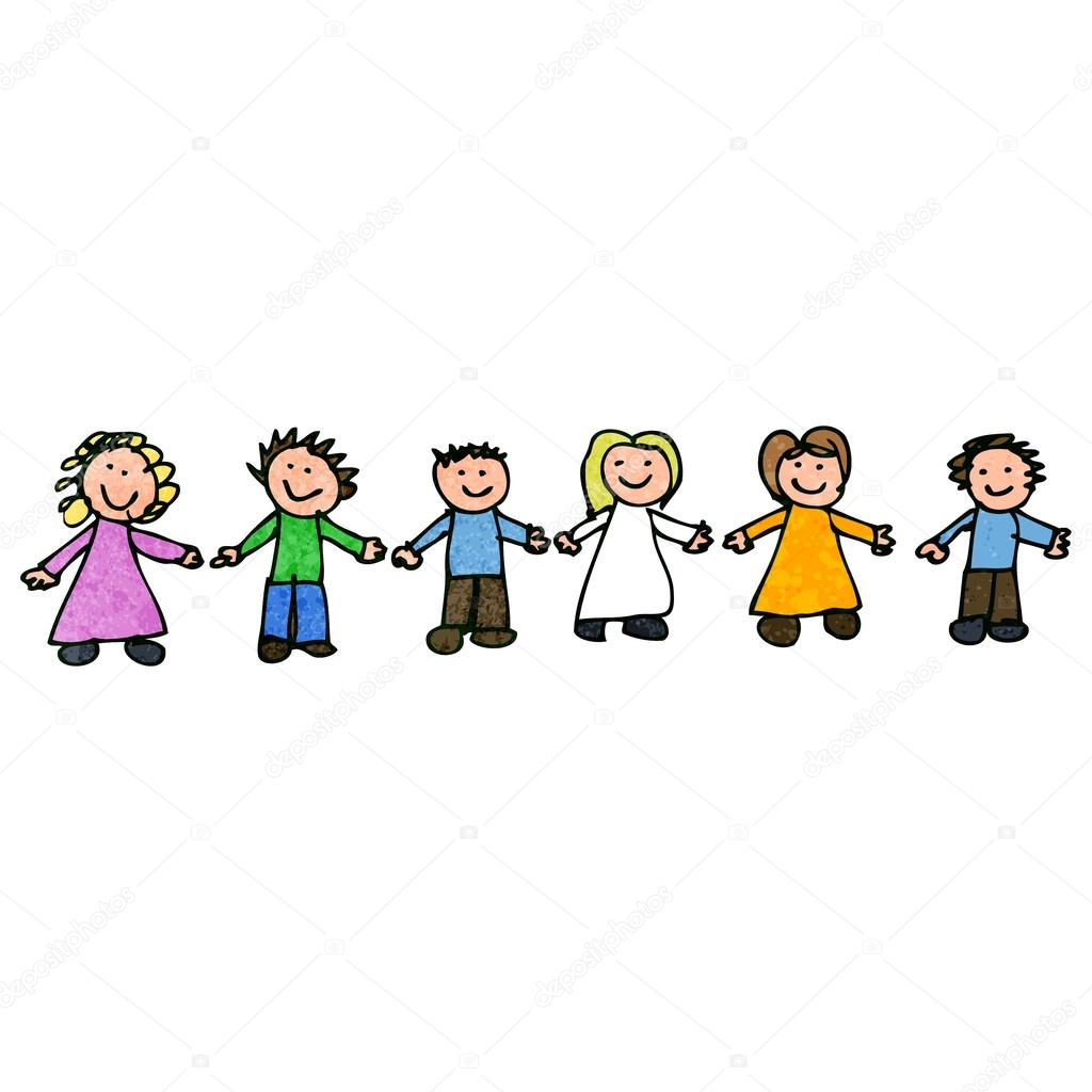 child's drawing of friends together — stock vector © lineartestpilot