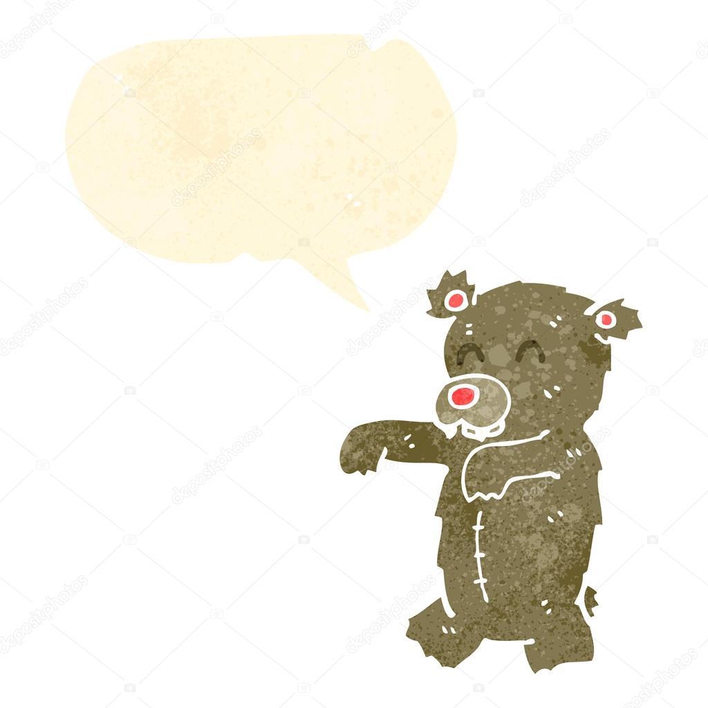 Orso dei cartoni animati retrò con nuvoletta u vettoriali stock