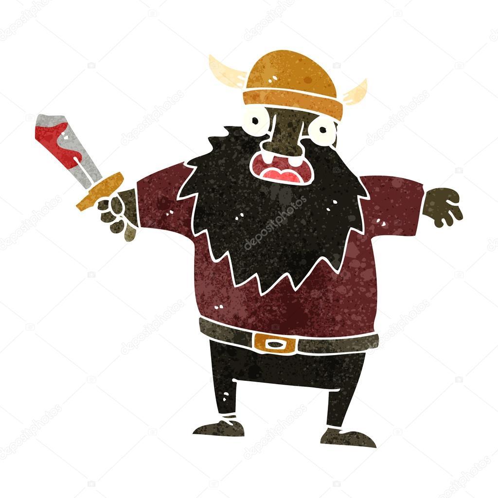Cartone animato del guerriero vichingo u vettoriali stock