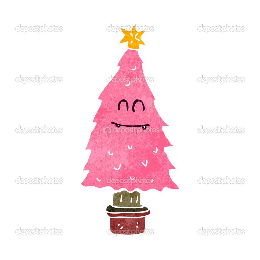 cartoon dry old christmas tree u2014 stock vector lineartestpilot
