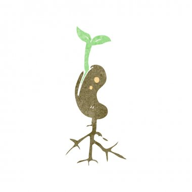 Growing plant retro cartoon