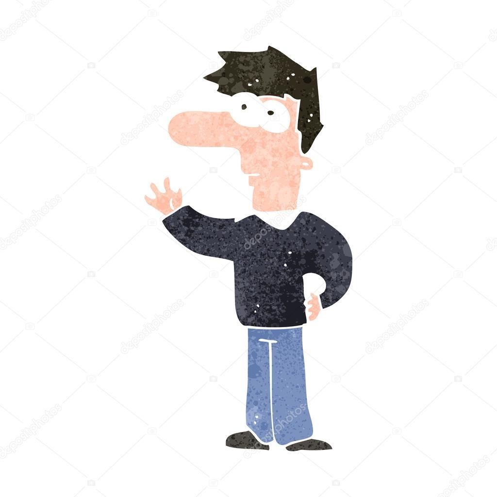 Uomo di cartone animato con nasone sventolando u vettoriali stock