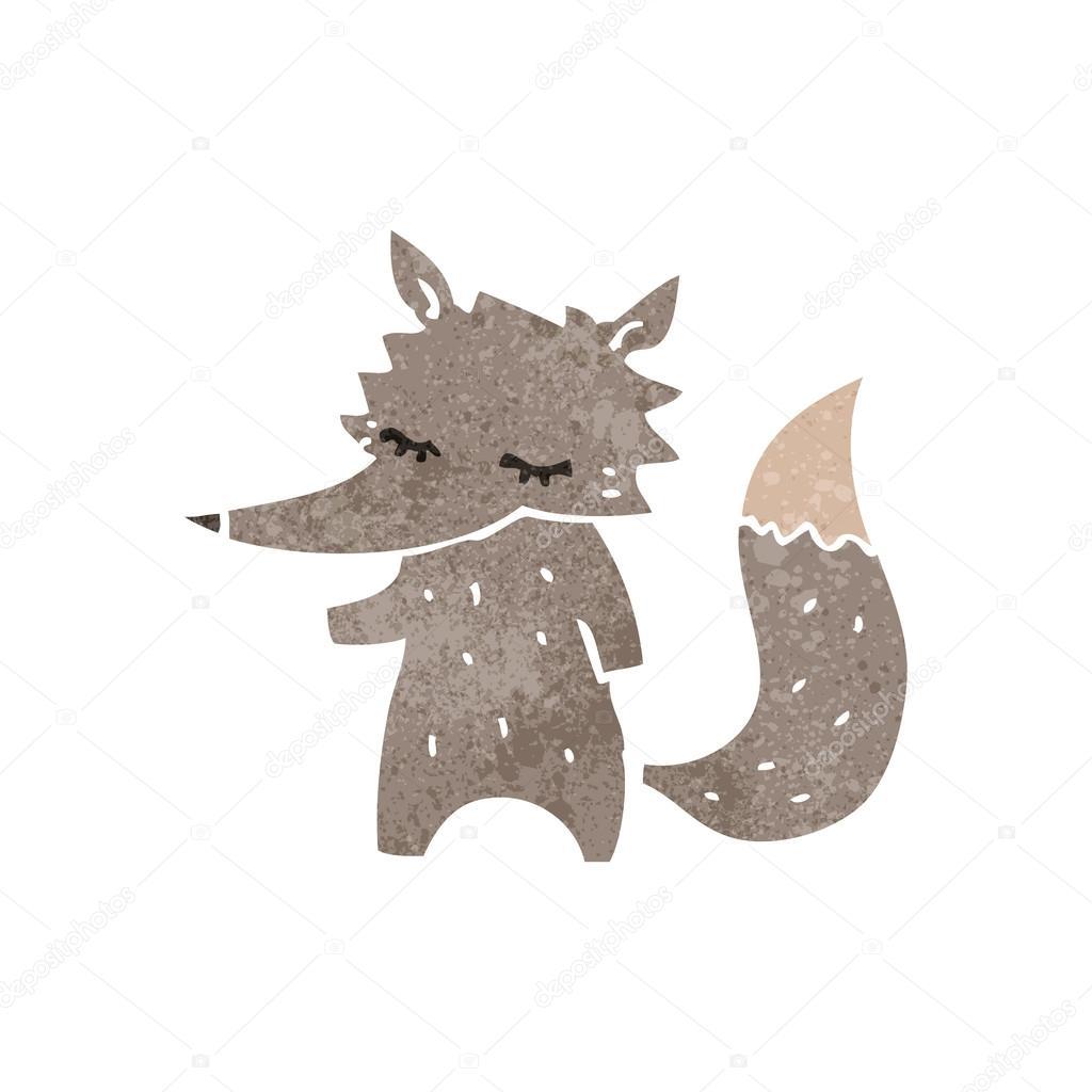 Petit loup de dessin anim r tro image vectorielle - Petit loup dessin ...