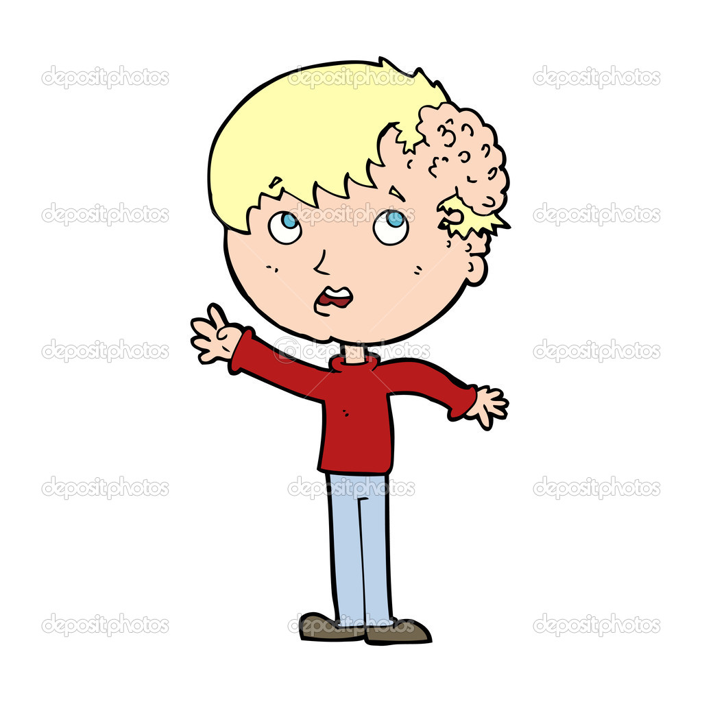 Ragazzo di cartone animato con la crescita sulla testa