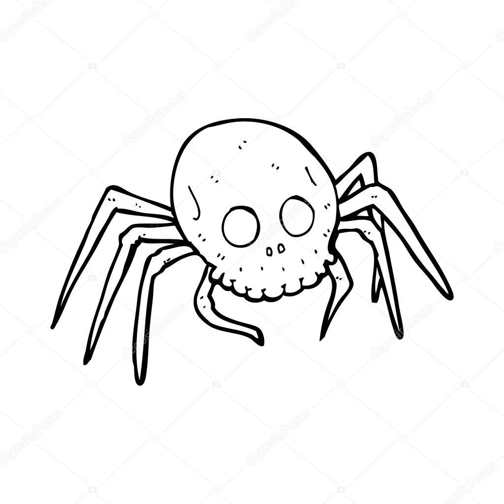 araña de calavera de halloween espeluznante de dibujos animados ...