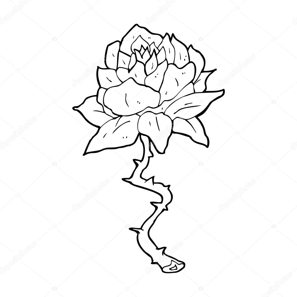 Dessin Anime Tatouage Rose Image Vectorielle Lineartestpilot