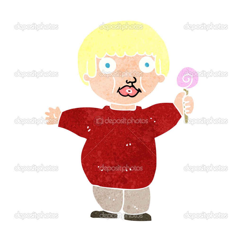Bambino grasso cartone animato u vettoriali stock