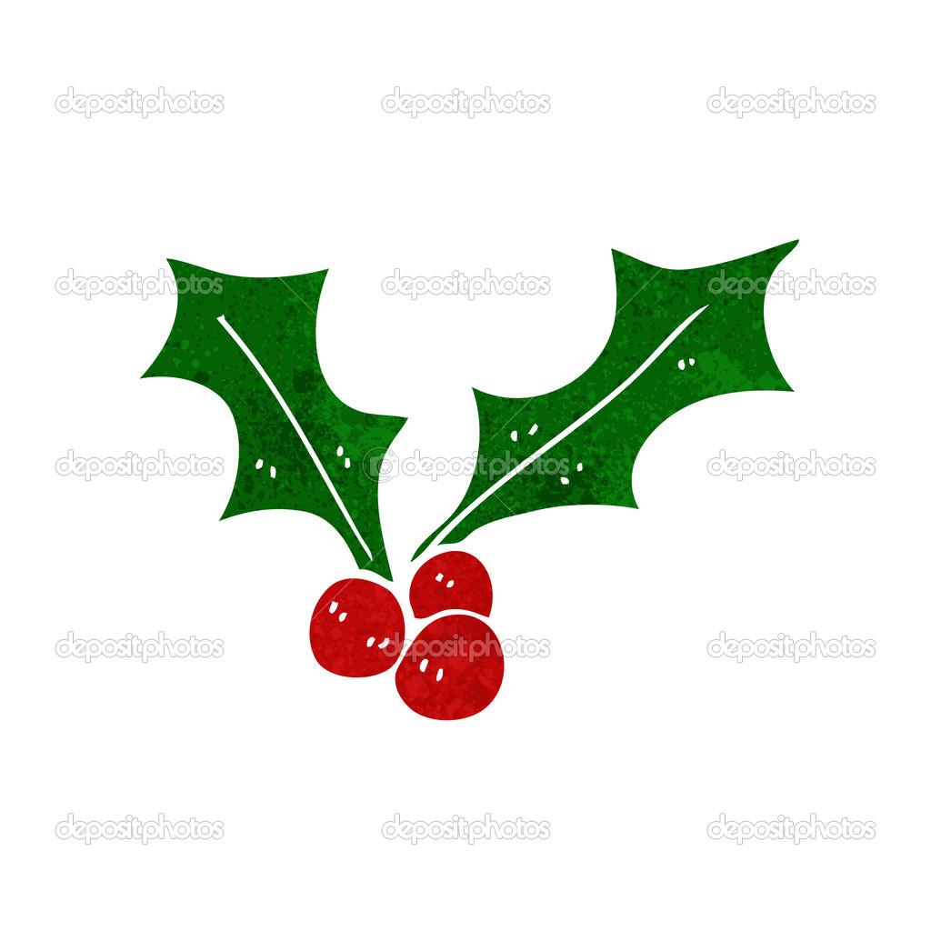 Dessin animé de houx de Noël — Image vectorielle lineartestpilot © #41157293