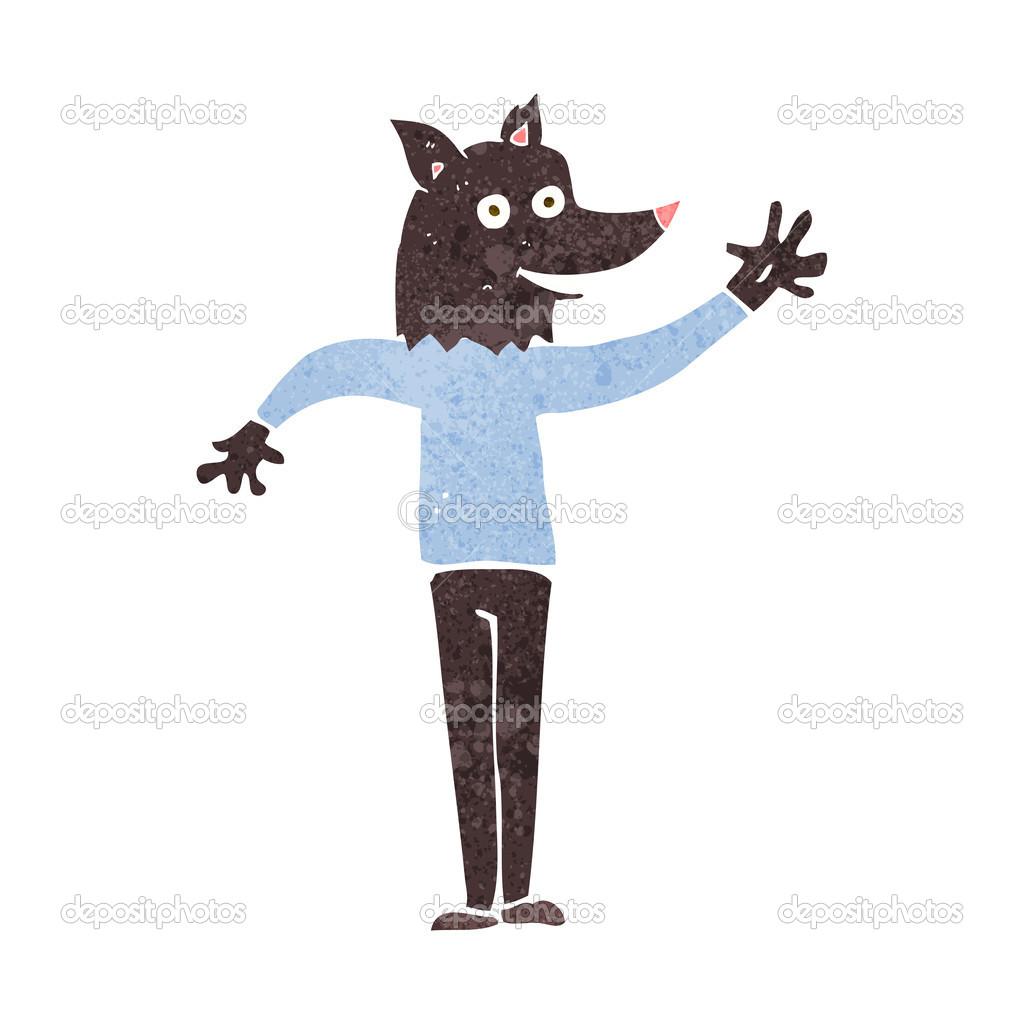 Uomo lupo d ondeggiamento dei cartoni animati u vettoriali stock