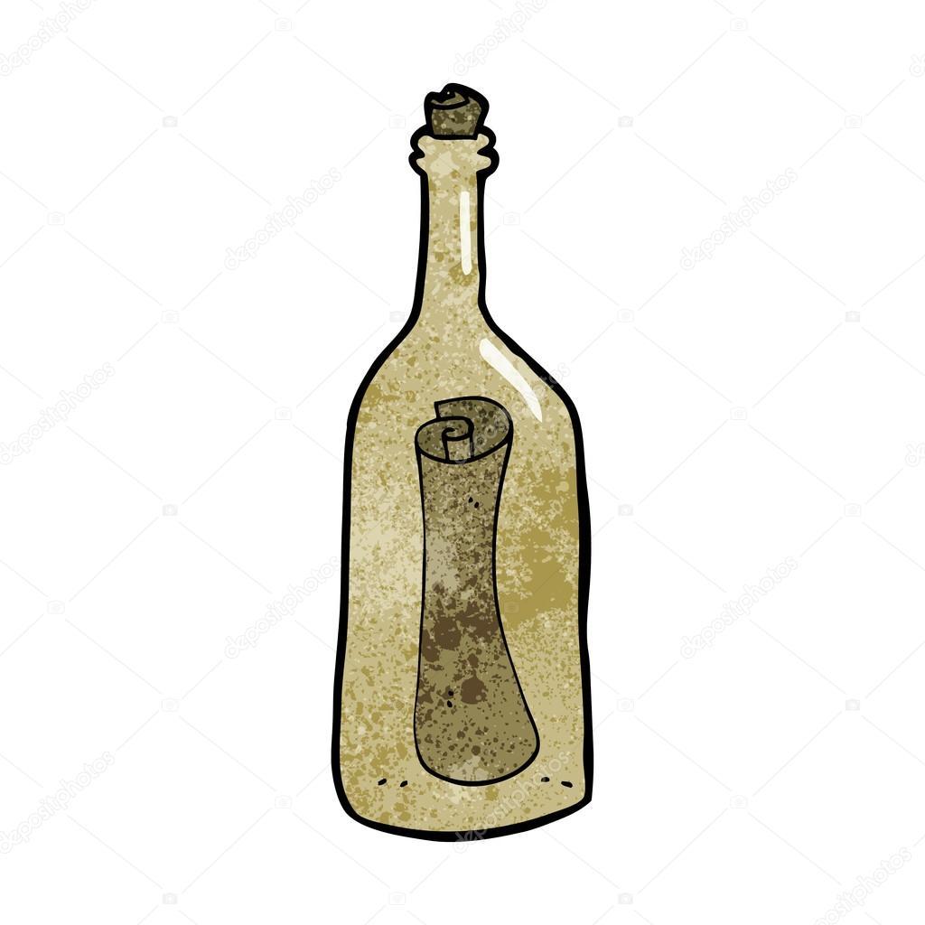 cartoon letter in a bottle stock vector