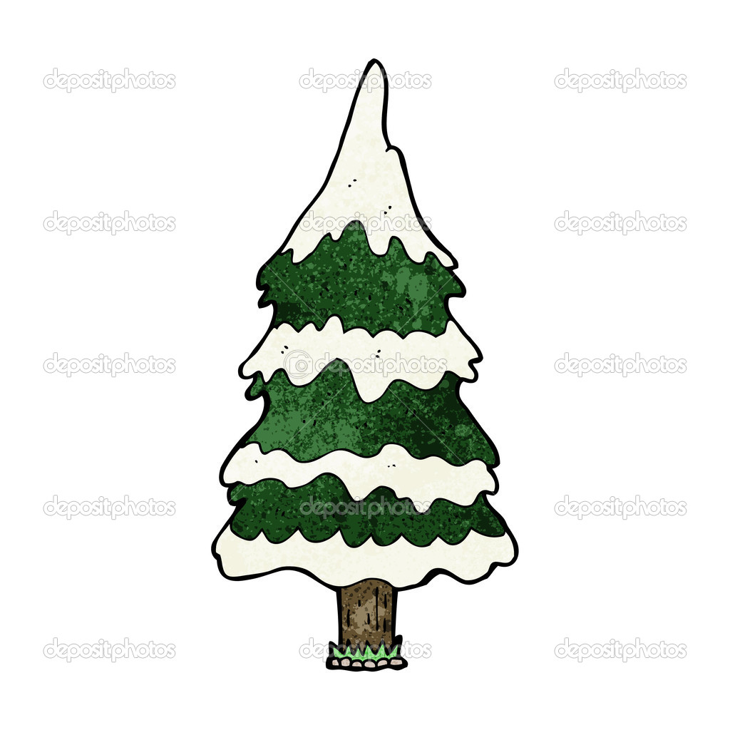 cartoon snowy tree u2014 stock vector lineartestpilot 45558661