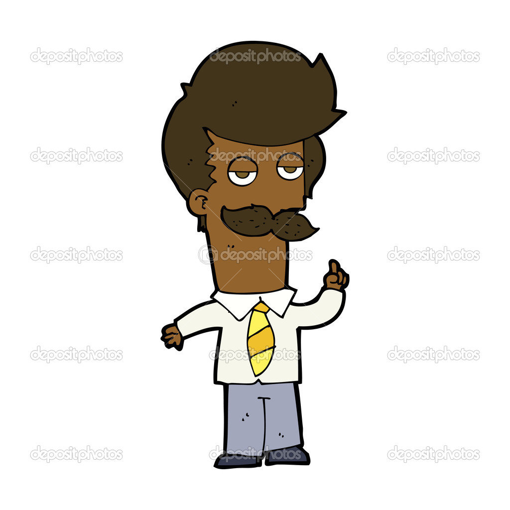 Mna cartone animato con i baffi che spiega u vettoriali stock