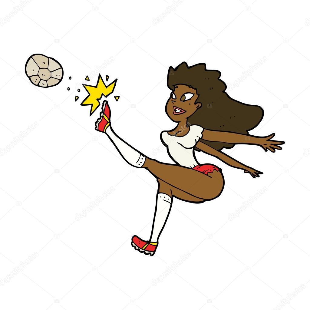 Cartoon Fussballerin Kickt Ball Stockvektor