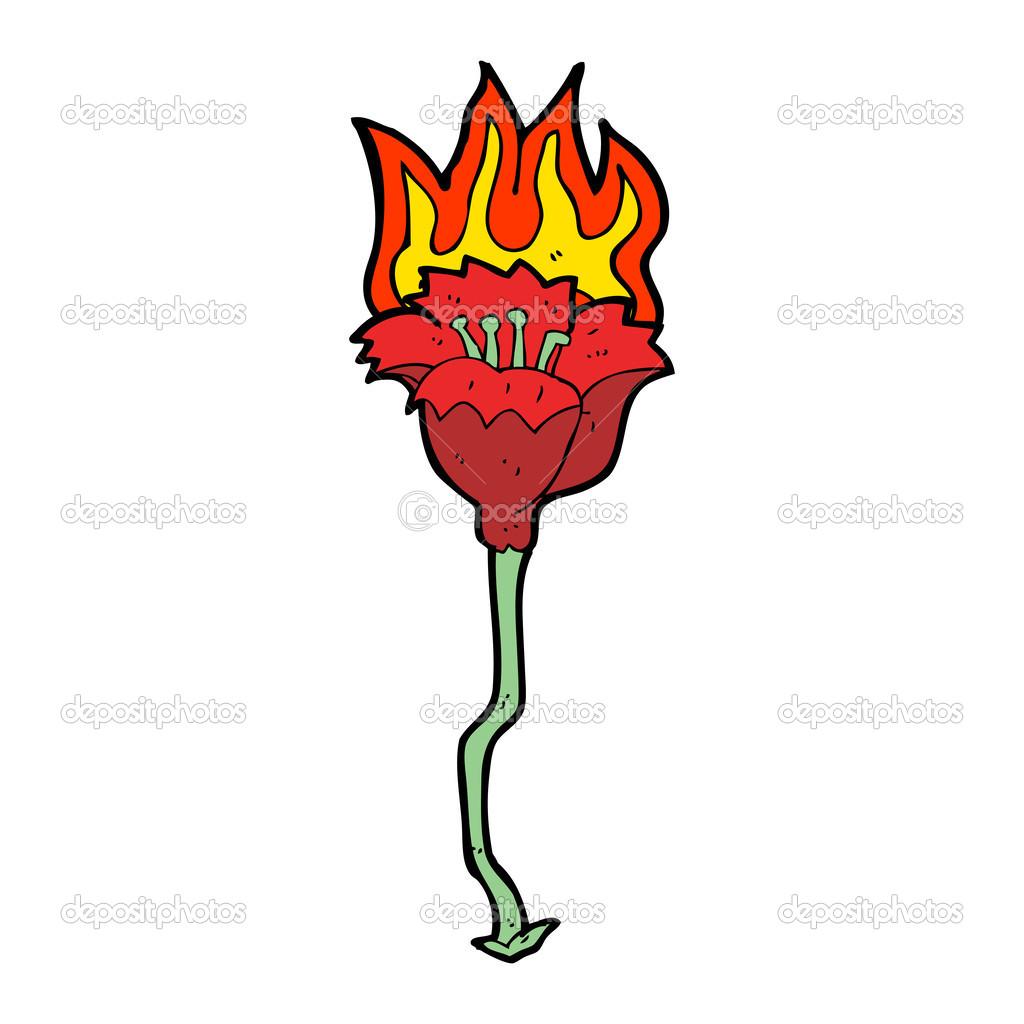 жилых горящий цветок рисунок полный