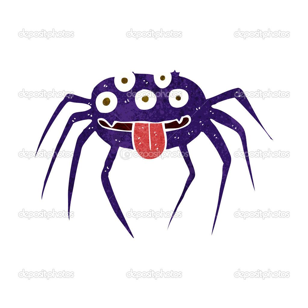 Ragno di halloween lordo cartone animato u vettoriali stock