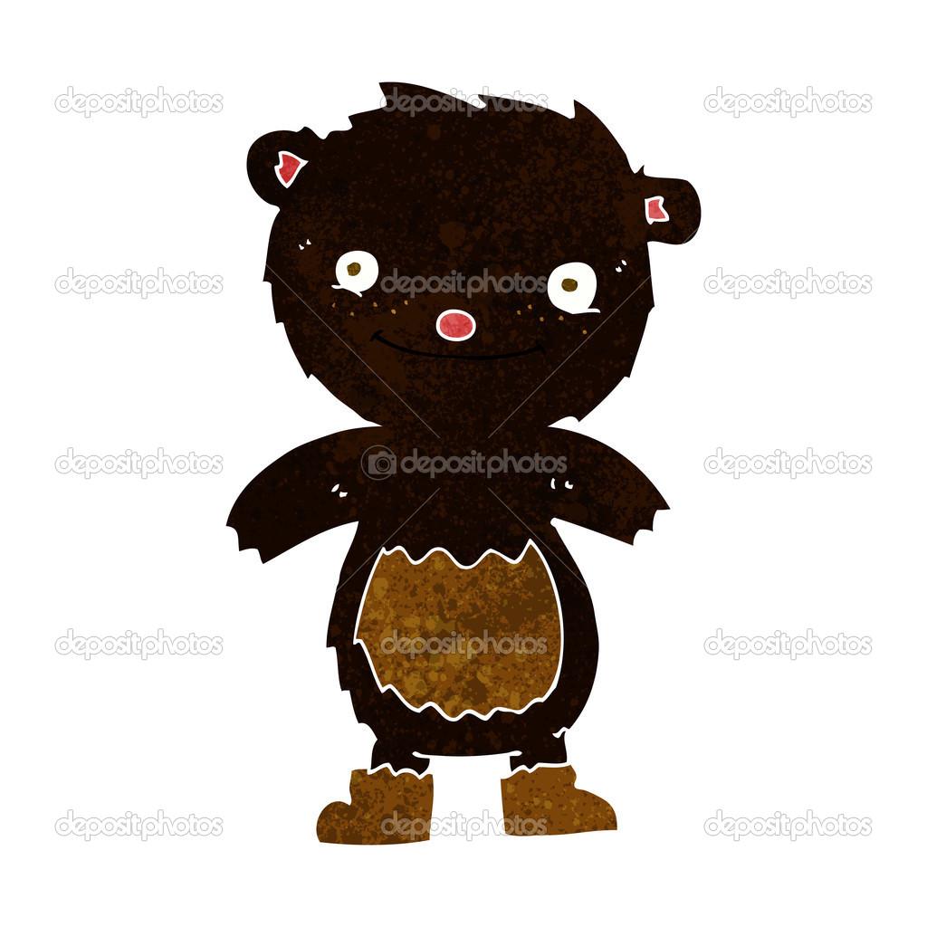 Cartone animato orsetto nero indossando stivali u2014 vettoriali stock