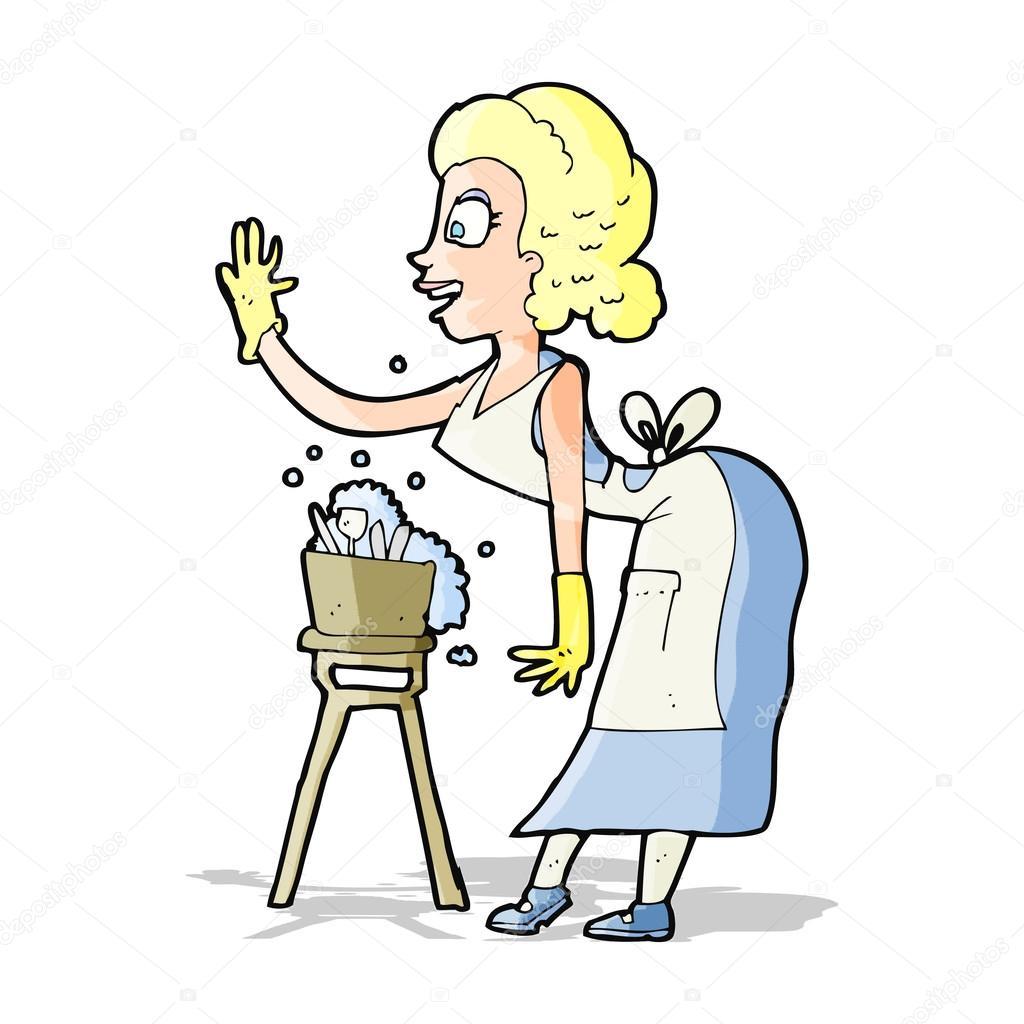 ama de casa de dibujos animados lavando archivo im genes vectoriales lineartestpilot 49382837. Black Bedroom Furniture Sets. Home Design Ideas