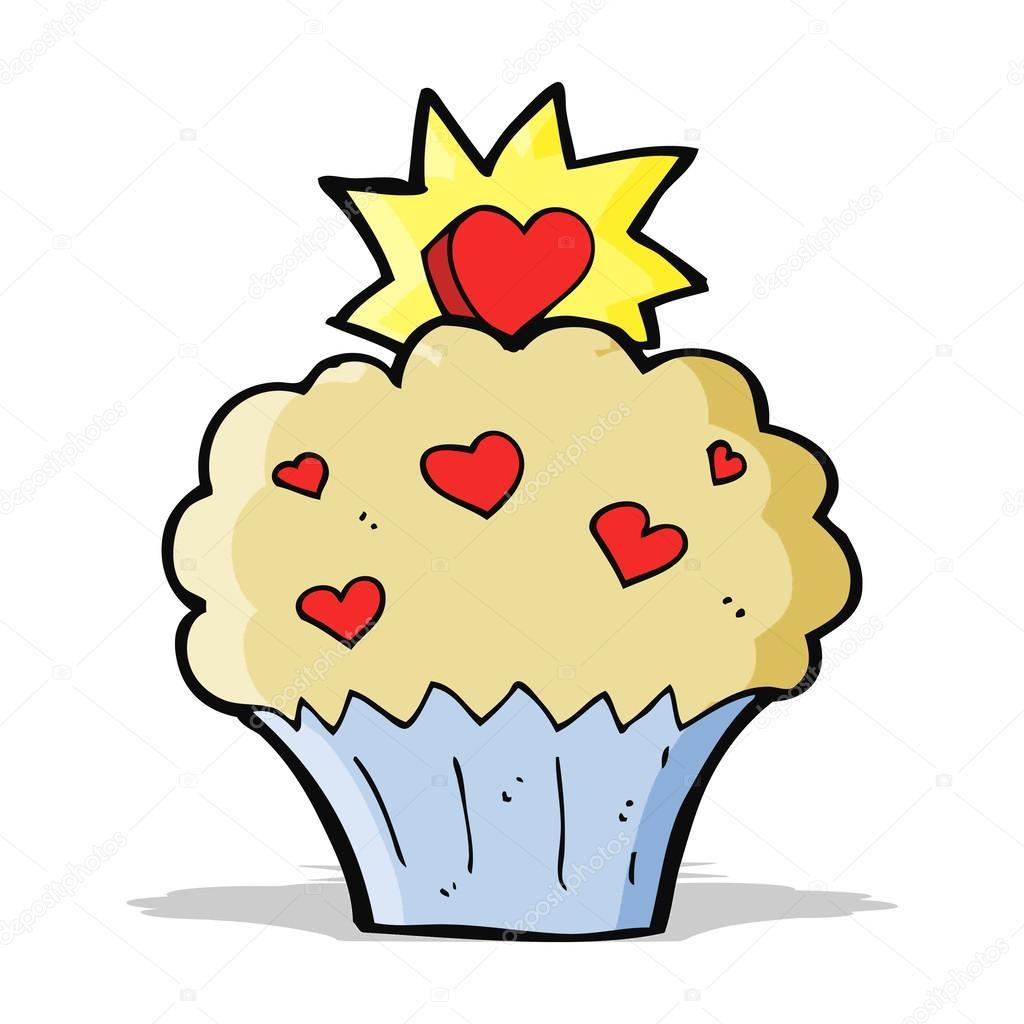 desenho animado amor coração cupcake vetores de stock
