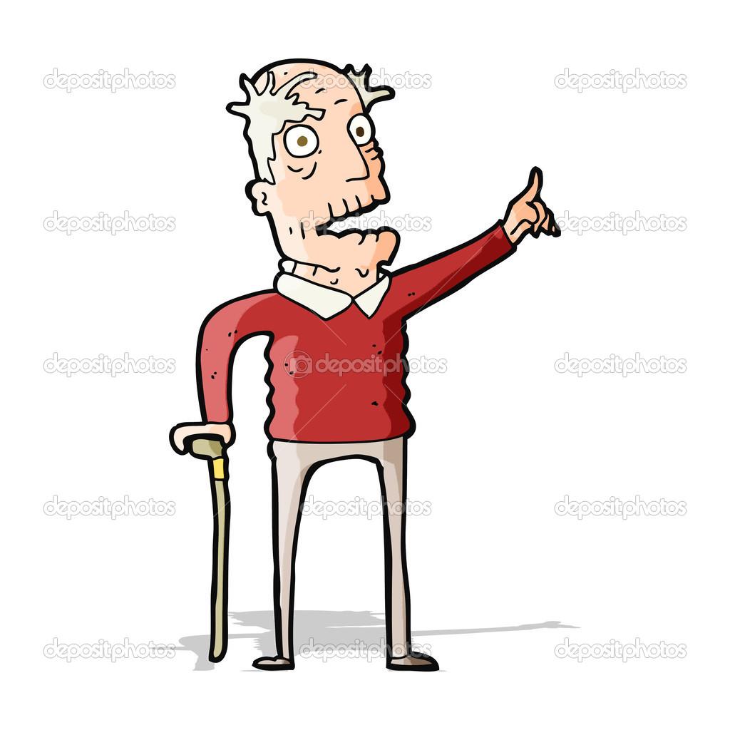 Cartone animato vecchio con bastone da passeggio