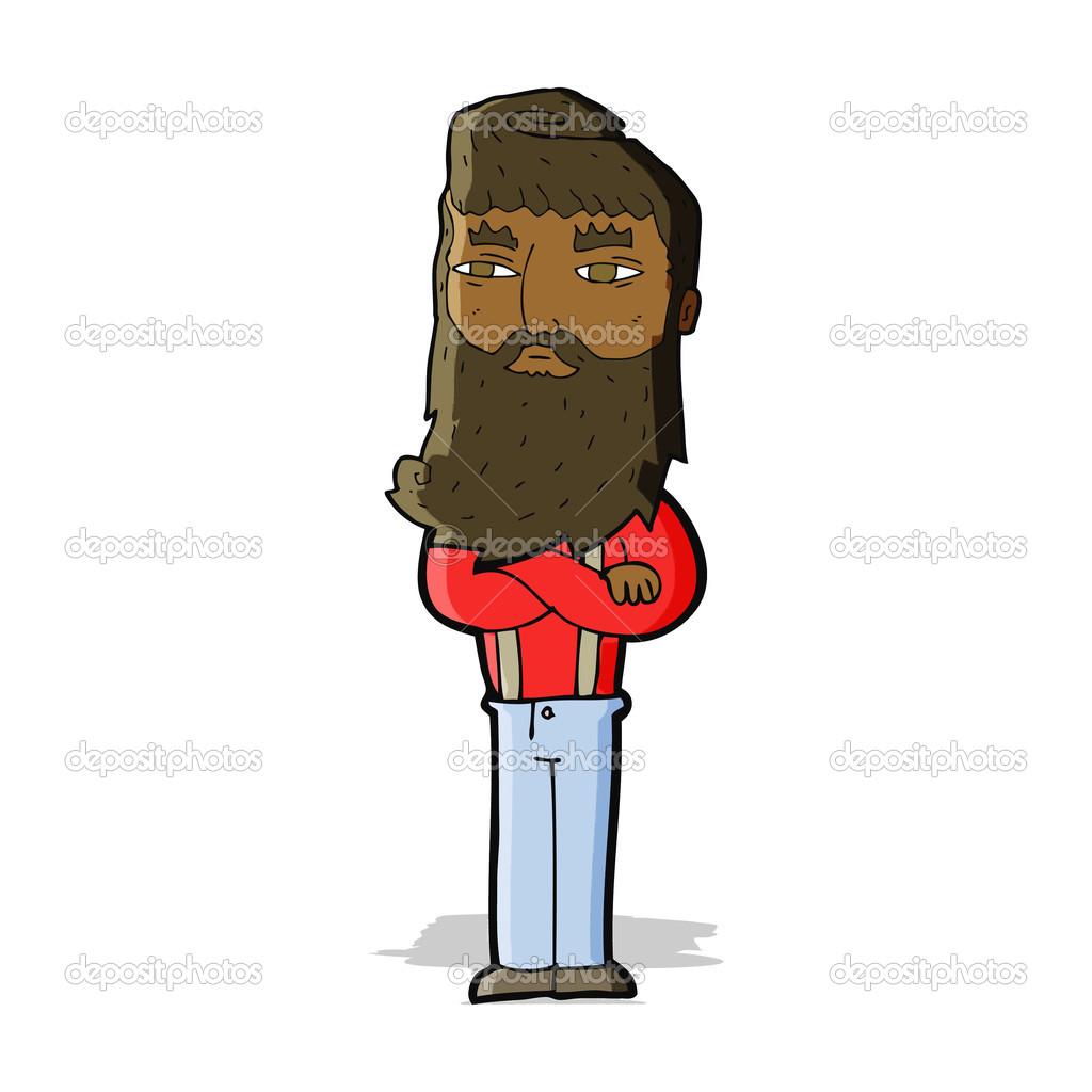 Uomo serio di cartone animato con barba u vettoriali stock