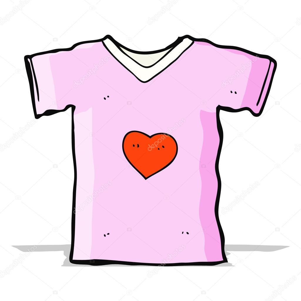 γελοιογραφία μπλούζα με αγάπη καρδιά — Διανυσματικό Αρχείο ... 5b1fb9a53a2