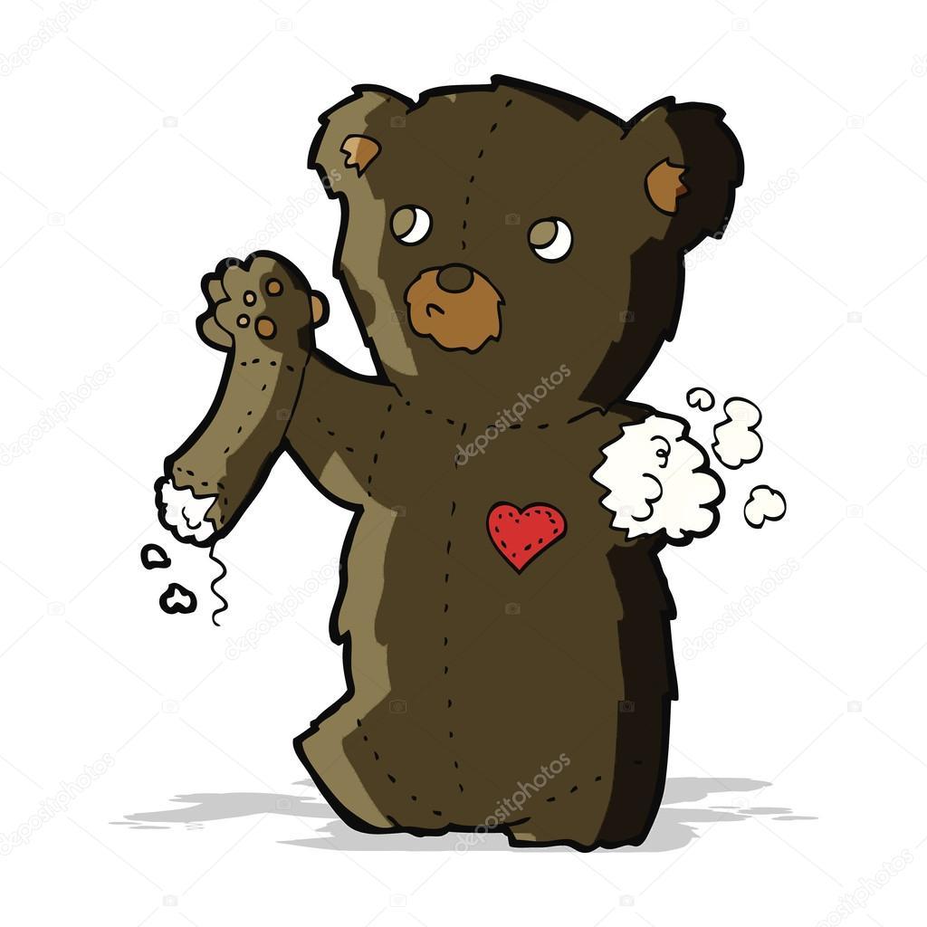 Cartone animato orsetto nero con braccio strappato u2014 vettoriali