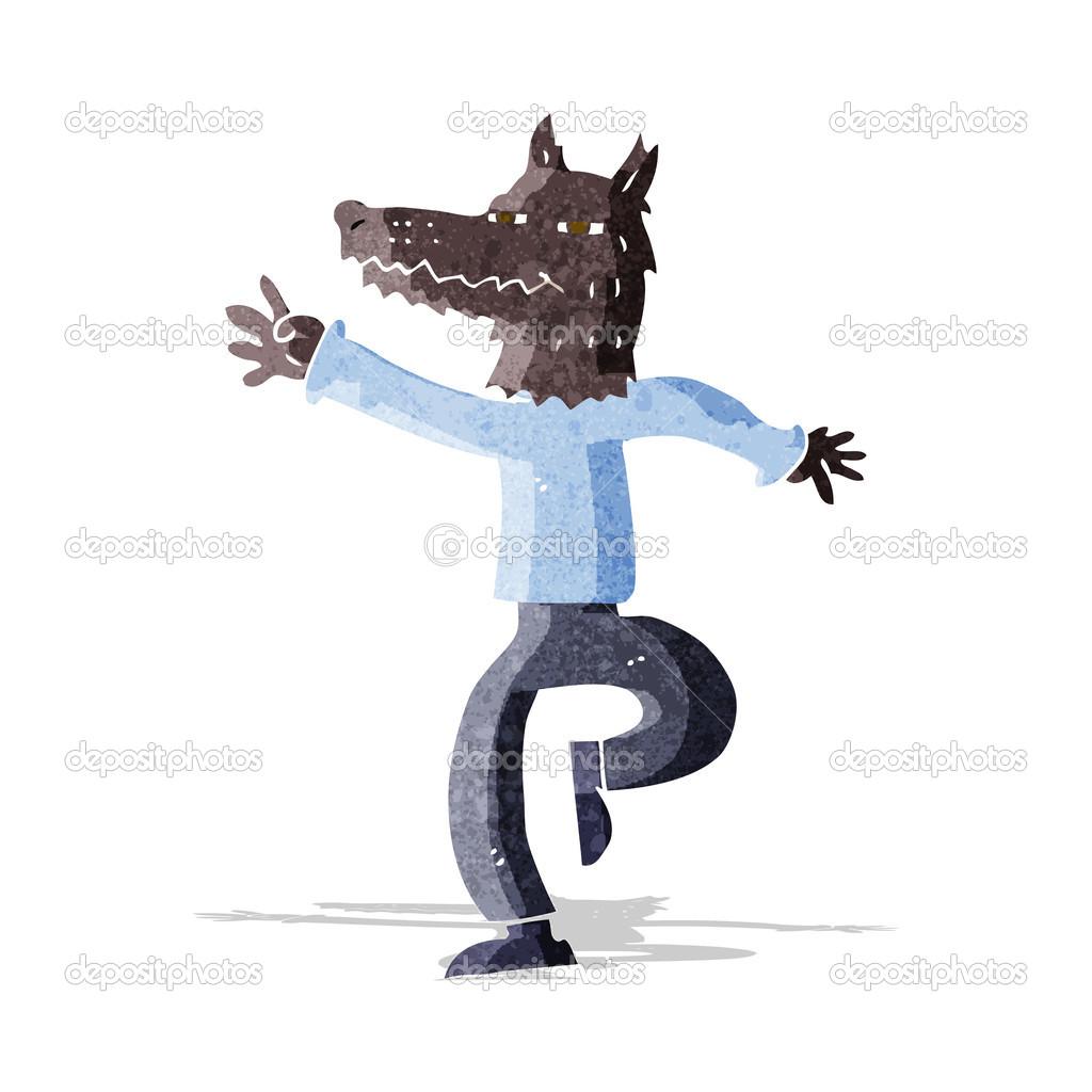 Uomo lupo felice dei cartoni animati u vettoriali stock