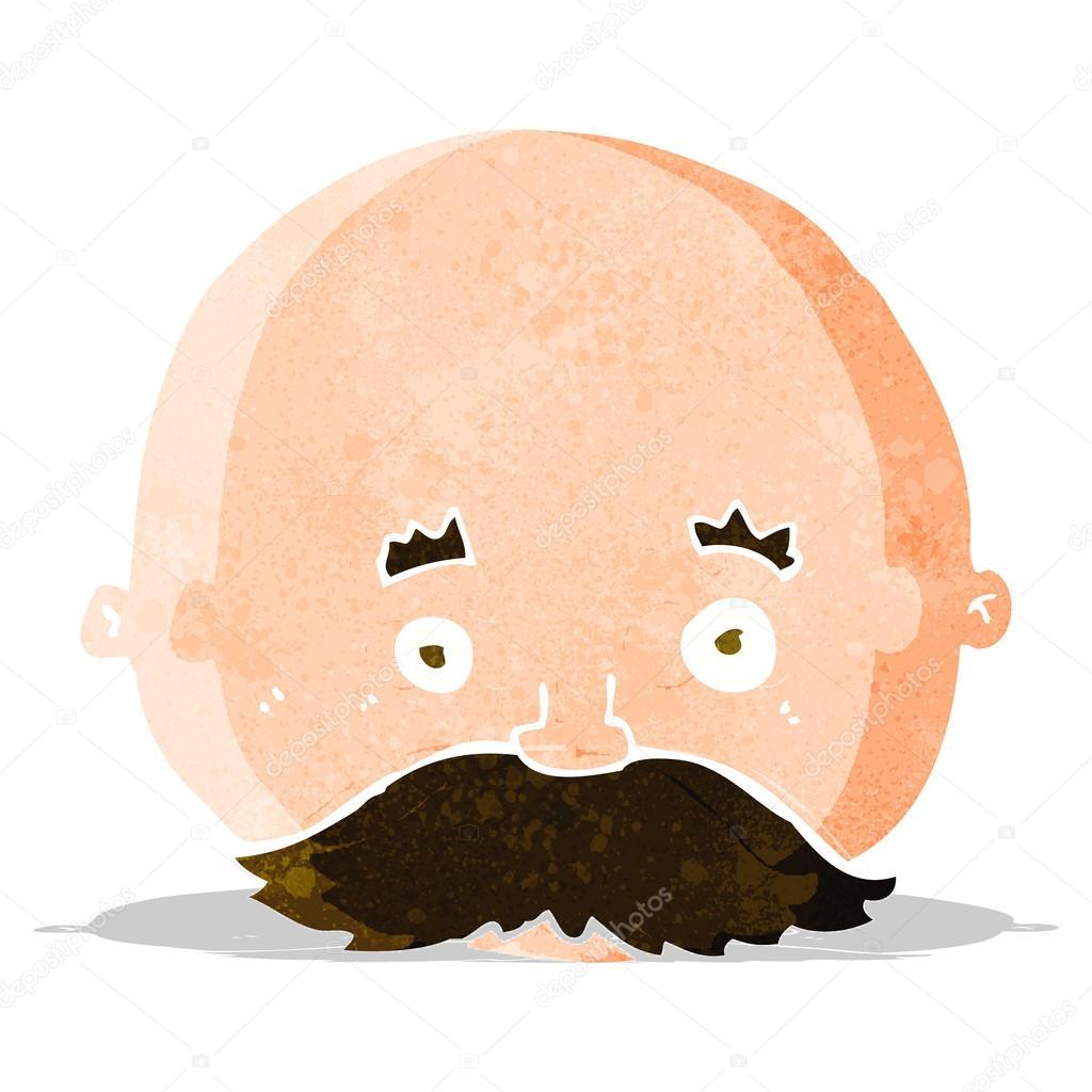 Uomo calvo di cartone animato con i baffi u vettoriali stock