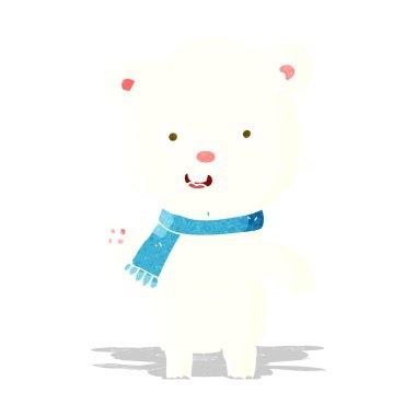 cartoon waving polar bear cub with scarf