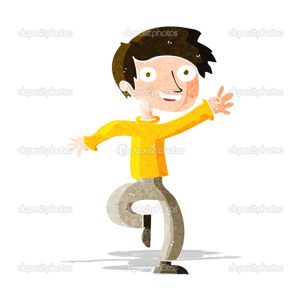 Cartoon Excited Boy Dancing Stock Vector
