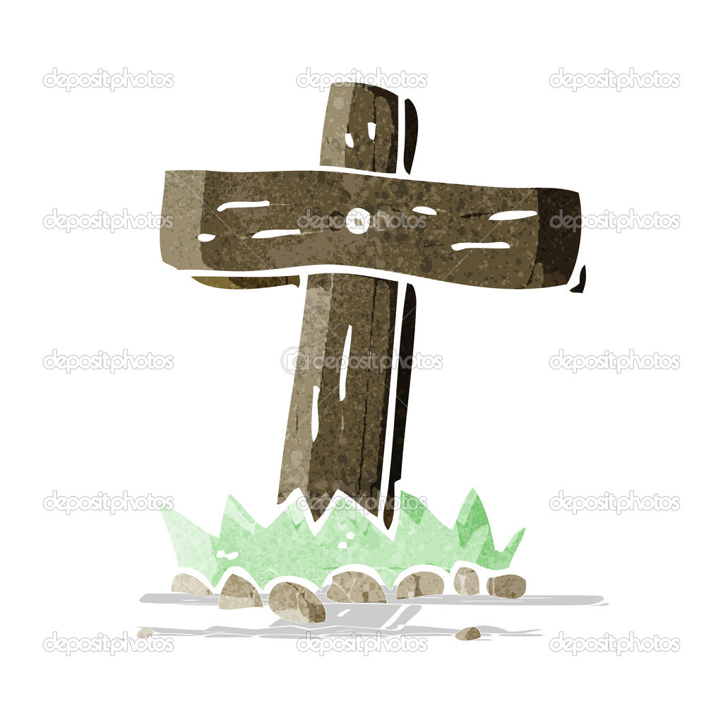 Cartoon Wooden Cross Grave Stock Vector Lineartestpilot 50857179