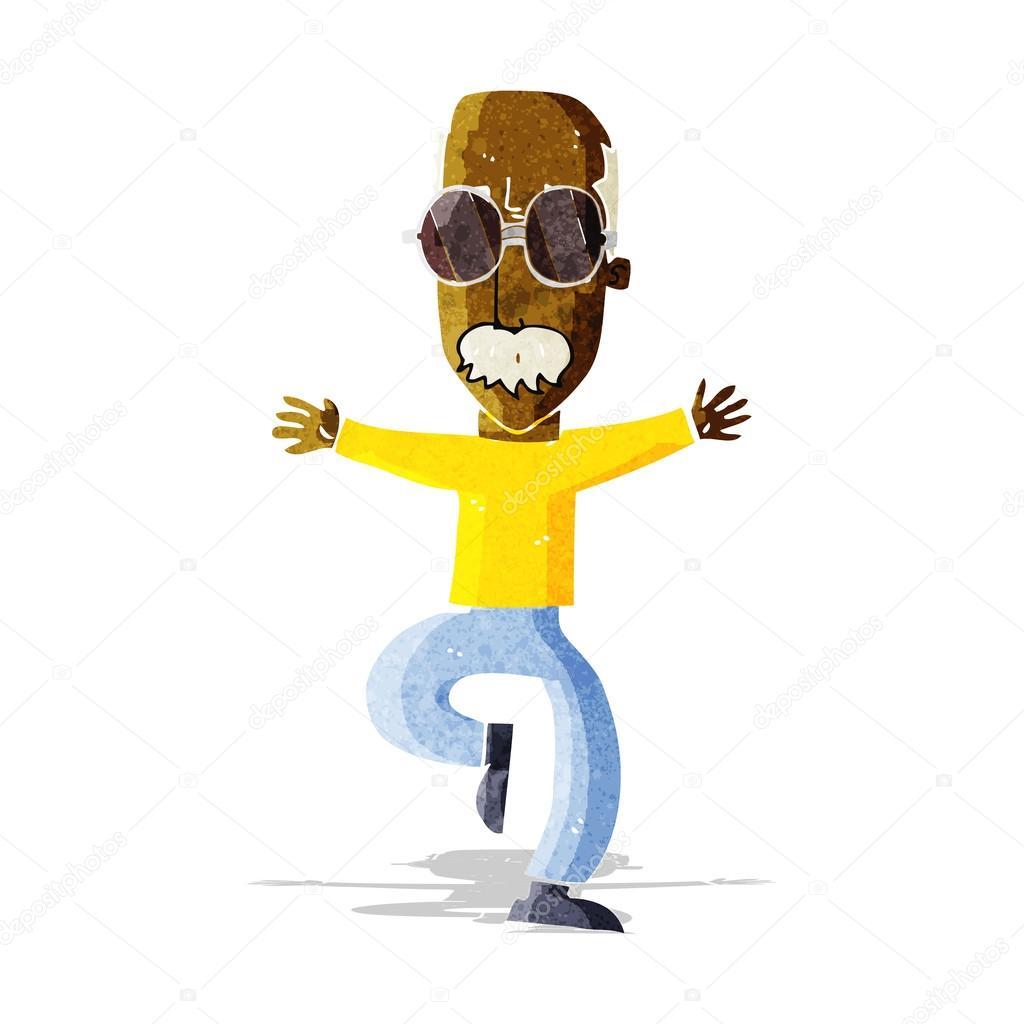 Vecchio cartone animato con gli occhiali grandi u2014 vettoriali stock