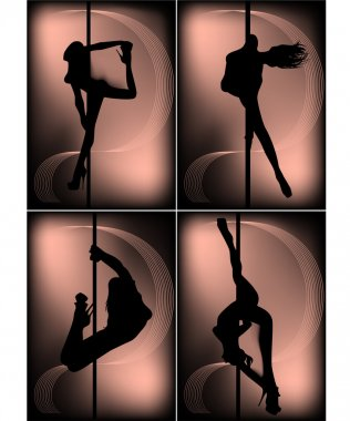 Lack silhouettes of dancing girls striptease