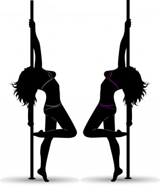Black silhouette of a sexy girl dancing with a pole