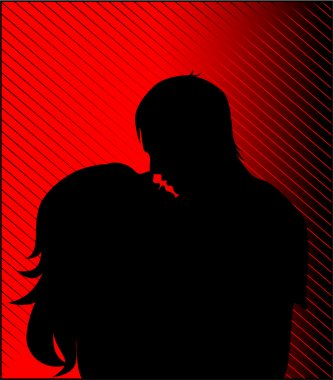 Black silhouette of a guy and girl kiss