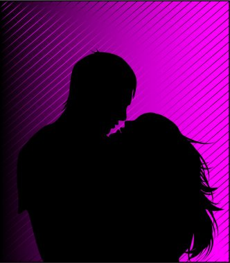 Black silhouette of a guy and girl kiss clip art vector