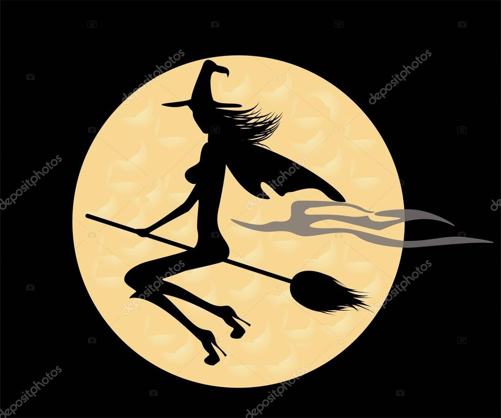 Черный силуэт ведьма на метле — стоковое фото