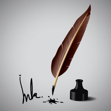Feather pen ink. Vector illustration