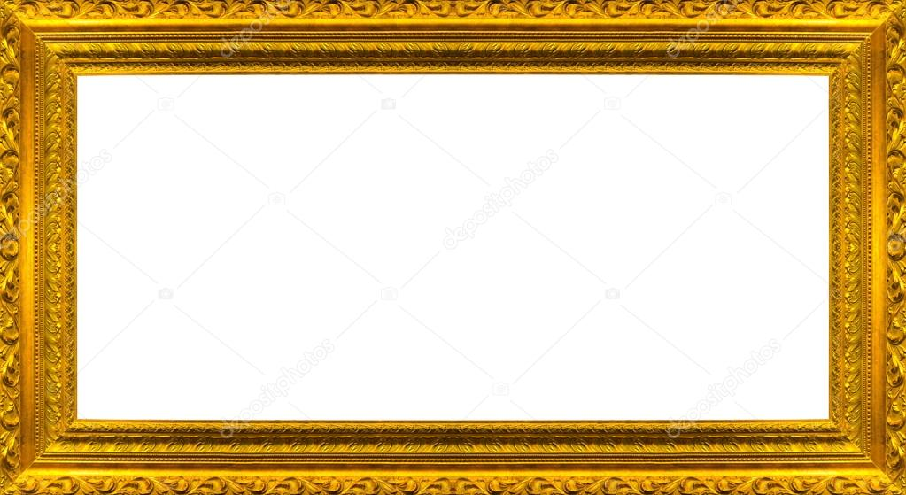 very big size large golden picture frame with white background clipping path included stock photo