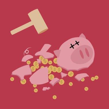 Broken Piggy bank with hammer. saving money. Vector.