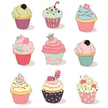 Illustration of isolated set of cupcake on white