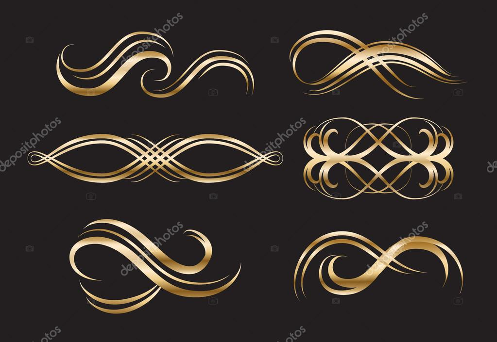 Gold Decorative Labels And Swirls Stock Vector C Liliwhite