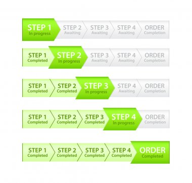 Order progress bar in five stages of completion clip art vector